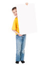 Boy with blank paper sheet isolated Royalty Free Stock Photo