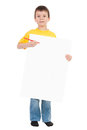 Boy with blank paper sheet isolated Royalty Free Stock Photography