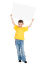 Boy with blank paper sheet isolated Stock Image