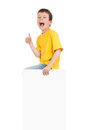 Boy with blank paper sheet isolated Stock Photos