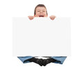 Boy with blank paper sheet isolated Stock Photography