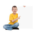 Boy with blank paper sheet isolated Royalty Free Stock Photos