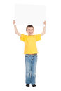 Boy with blank paper sheet isolated Royalty Free Stock Images
