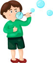 Boy blowing bubbles illustration of isolated on white Stock Image