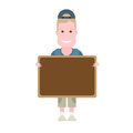 Boy with board illustration of on white background Stock Images