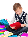 Boy with books Stock Photo