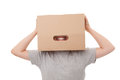 Boy with a box on a head Royalty Free Stock Photography