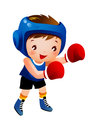 Boy with boxing glove Stock Image