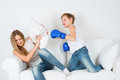 Boy in boxing gloves shoots girl hit the and the locked away Stock Photos