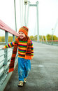 Boy on on the bridge Royalty Free Stock Photo
