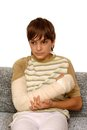 Boy with broken arm Stock Photo