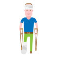 Boy with broken leg illustration of sick on white background Stock Images