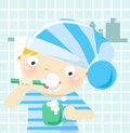 Boy brushing teeth Royalty Free Stock Images