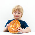 Boy with bun Stock Images
