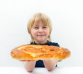 Boy with bun Royalty Free Stock Images