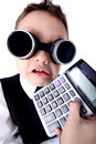 Boy with calculator Royalty Free Stock Photo