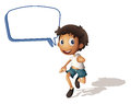 A boy and call out illustration of on white background Stock Images