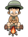 Boy camping vector illustration of Stock Image