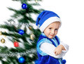 Boy in a cap of Santa Claus Royalty Free Stock Photo