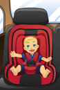Boy in car seat Stock Photography