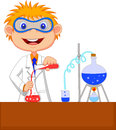 Boy cartoon doing chemical experiment illustration of Royalty Free Stock Photo