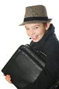 Boy with a case Stock Photography