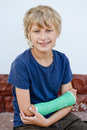 Boy with cast on right hand Royalty Free Stock Photography