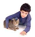 Boy with cat little isolated in white Royalty Free Stock Image
