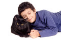 Boy with cat little isolated in white Royalty Free Stock Images