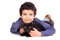 Boy with cat little isolated in white Stock Image