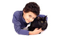Boy with cat little isolated in white Stock Images