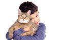Boy with cat little isolated in white Stock Photography