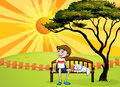 A boy and a cat sitting on a bench illustration of beautiful landscape Royalty Free Stock Photography