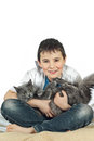 Boy with a cat on a white background11 Royalty Free Stock Photo
