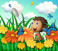 A boy catching butterflies at the flower garden Royalty Free Stock Photo