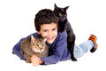 Boy with cats little holding isolated in white Royalty Free Stock Photos