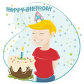 Boy celebrating birthday Royalty Free Stock Image