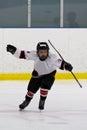 Boy celebrating scoring a goal in ice hockey Stock Photo