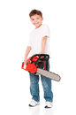 Boy with chainsaw isolated on white background Royalty Free Stock Photos