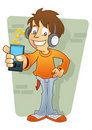 Boy character listening MP3 player Royalty Free Stock Photo