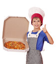 Boy chef hold box with pizza happy Stock Photography