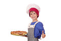 Boy chef hold pizza and ok hand sign Stock Photos