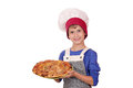 Boy chef with pizza happy Stock Image