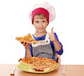 Boy chef with pizza and thumb up happy Stock Photos