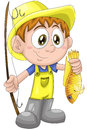 Boy child fisherman fish character cartoon style cute young wearing a yellow jumpsuit hat and gumboots holding a fishing rod and Royalty Free Stock Photos