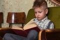 Boy Child Read Book, Children Education Royalty Free Stock Photo
