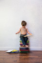 Boy child reading books Royalty Free Stock Photo