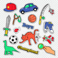 Boy Childhood Doodle with Ball, Toys and Clothes. Kids Stickers, Badges and Patches