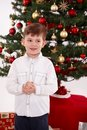 Boy christmas happy little Arkivbild