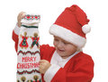 Boy with Christmas stocking Stock Photography